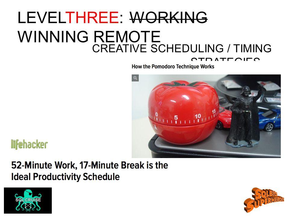 LEVELTHREE: WORKING WINNING REMOTE CREATIVE SCHEDULING / TIMING STRATEGIES…