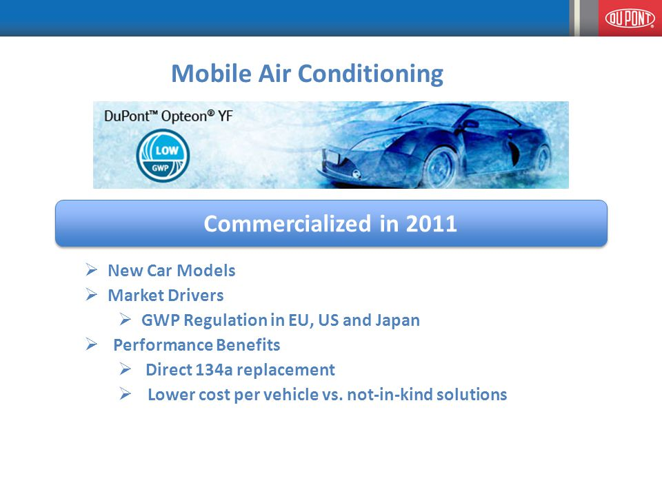 Mobile Air Conditioning Commercialized in 2011  New Car Models  Market Drivers  GWP Regulation in EU, US and Japan  Performance Benefits  Direct 134a replacement  Lower cost per vehicle vs.