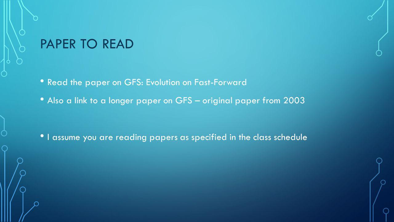 THE ORIGINAL GOOGLE FILE SYSTEM GFS