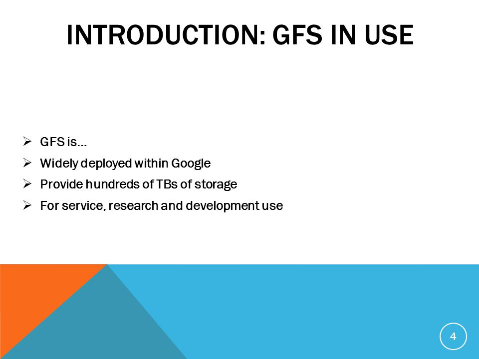 INTRODUCTION  Observations of data usage in Google s application  Files are typically large; multiple GB files are common  Access pattern: most writes are appending while most reads are sequential(no need for caching)  Co-designing applications and file system benefits by increasing flexibility  Component failures are the norm 5
