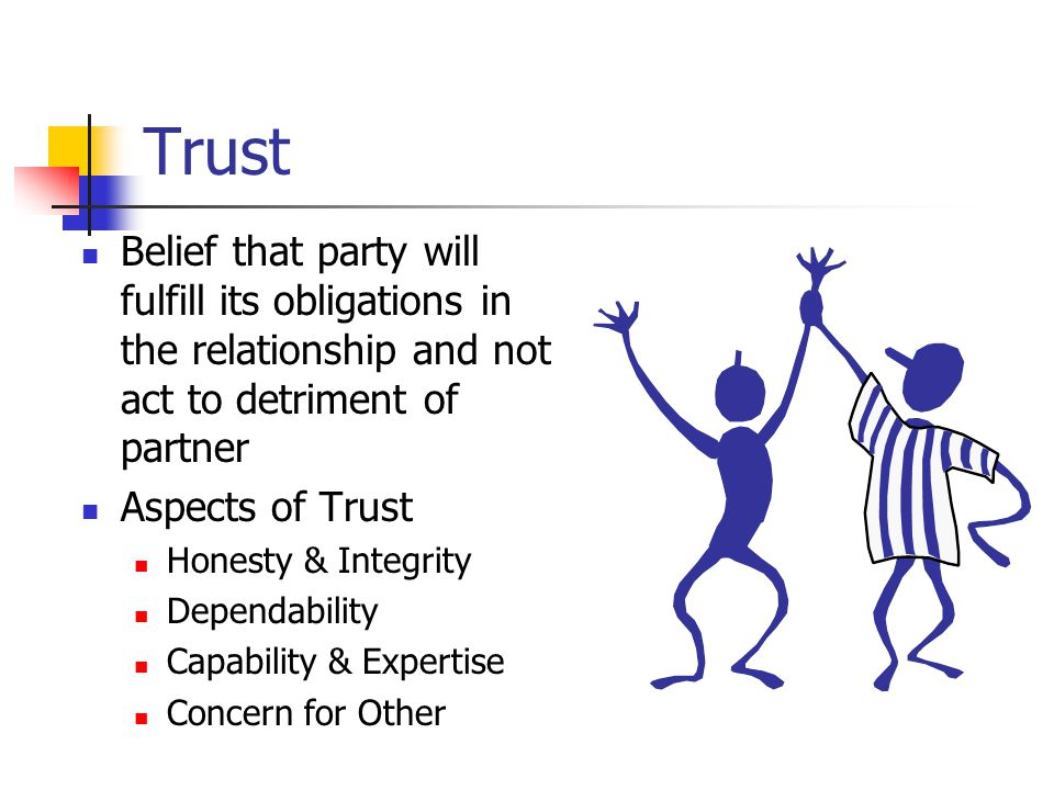 Trust Belief that party will fulfill its obligations in the relationship and not act to detriment of partner Aspects of Trust Honesty & Integrity Dependability Capability & Expertise Concern for Other