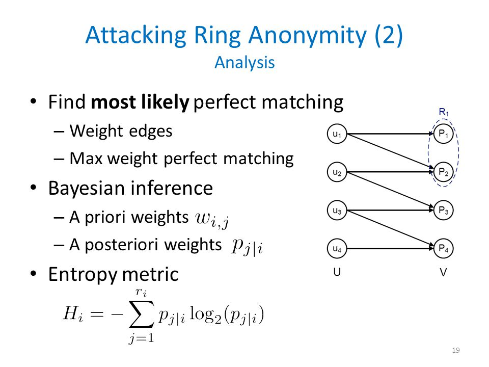 Attacking Ring Anonymity (2) Analysis Find most likely perfect matching – Weight edges – Max weight perfect matching Bayesian inference – A priori weights – A posteriori weights Entropy metric 19