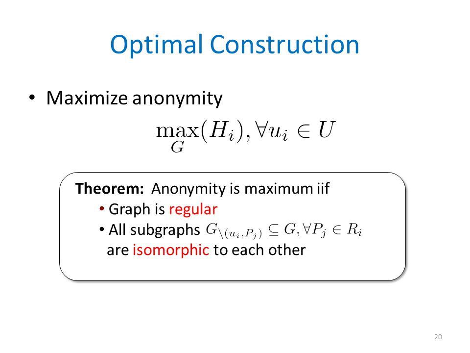 Optimal Construction Maximize anonymity 20 Theorem: Anonymity is maximum iif Graph is regular All subgraphs are isomorphic to each other