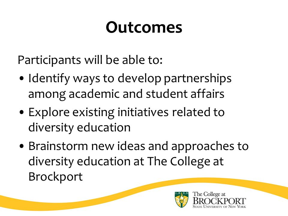 Outcomes Participants will be able to: Identify ways to develop partnerships among academic and student affairs Explore existing initiatives related to diversity education Brainstorm new ideas and approaches to diversity education at The College at Brockport