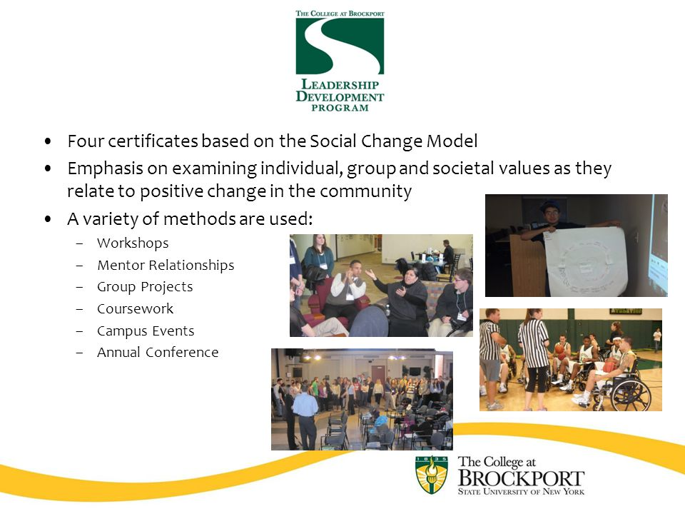Four certificates based on the Social Change Model Emphasis on examining individual, group and societal values as they relate to positive change in the community A variety of methods are used: –Workshops –Mentor Relationships –Group Projects –Coursework –Campus Events –Annual Conference