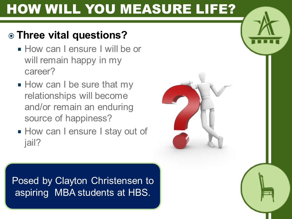  Three vital questions.  How can I ensure I will be or will remain happy in my career.