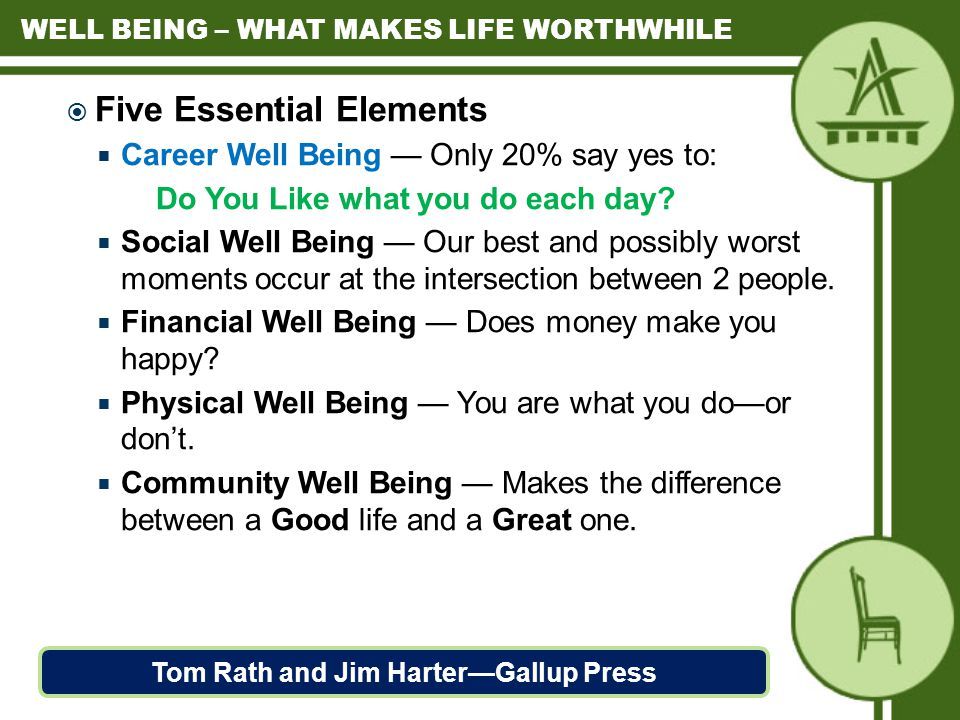  Five Essential Elements  Career Well Being — Only 20% say yes to: Do You Like what you do each day.