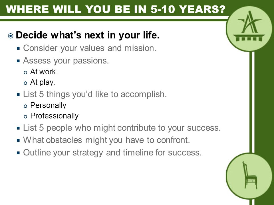  Decide what's next in your life.  Consider your values and mission.