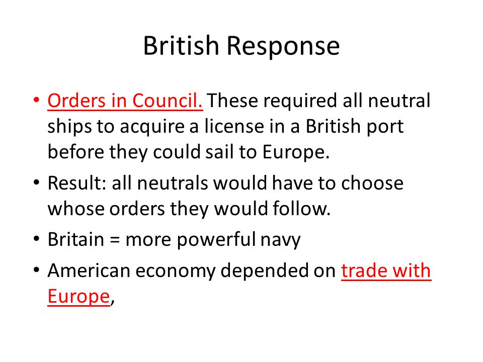 British Response Orders in Council.