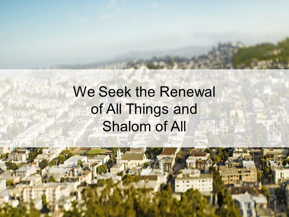 We Seek the Renewal of All Things and Shalom of All