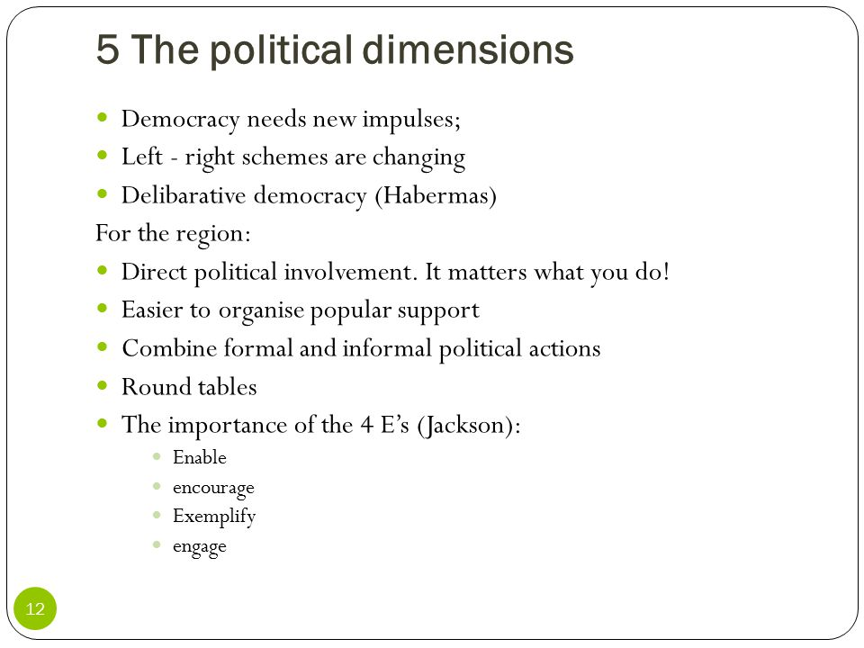 5 The political dimensions 12 Democracy needs new impulses; Left - right schemes are changing Delibarative democracy (Habermas) For the region: Direct
