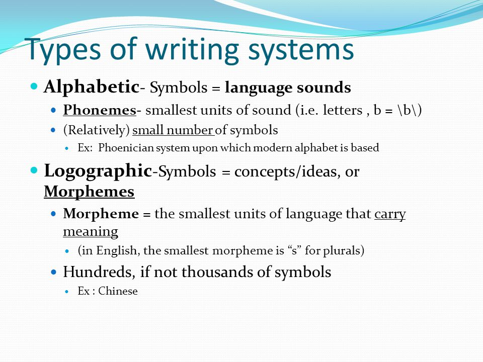 Types of writing systems Alphabetic - Symbols = language sounds Phonemes- smallest units of sound (i.e.
