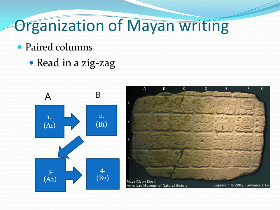 Organization of Mayan writing Paired columns Read in a zig-zag 1. (A1) 2. (B1) 3. (A2) 4. (B2) A B