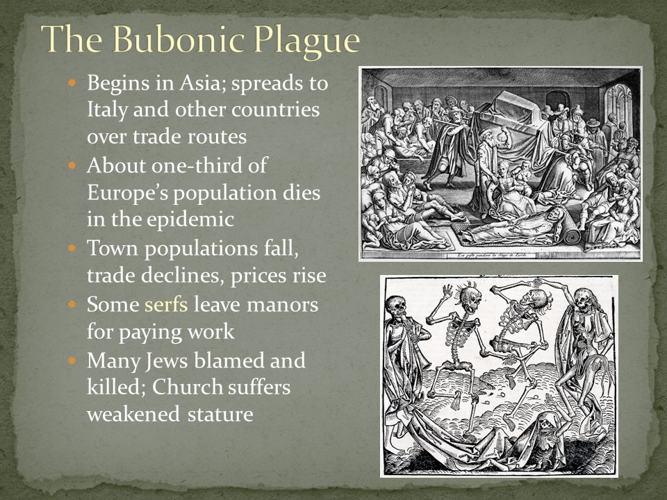 Begins in Asia; spreads to Italy and other countries over trade routes About one-third of Europe's population dies in the epidemic Town populations fall, trade declines, prices rise Some serfs leave manors for paying work Many Jews blamed and killed; Church suffers weakened stature