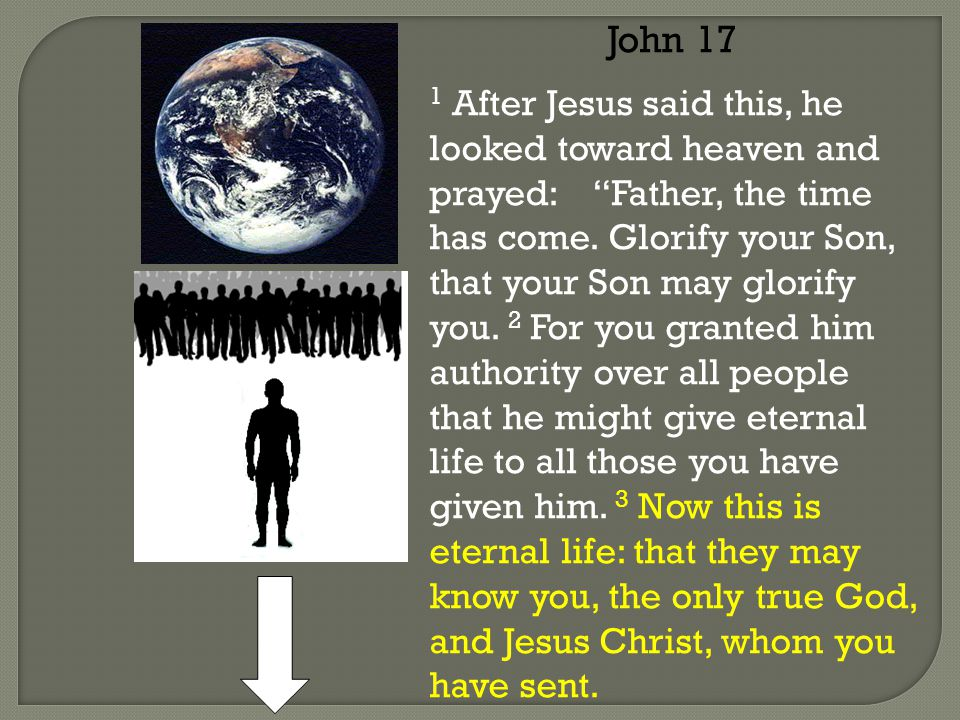 John 17 1 After Jesus said this, he looked toward heaven and prayed: Father, the time has come.
