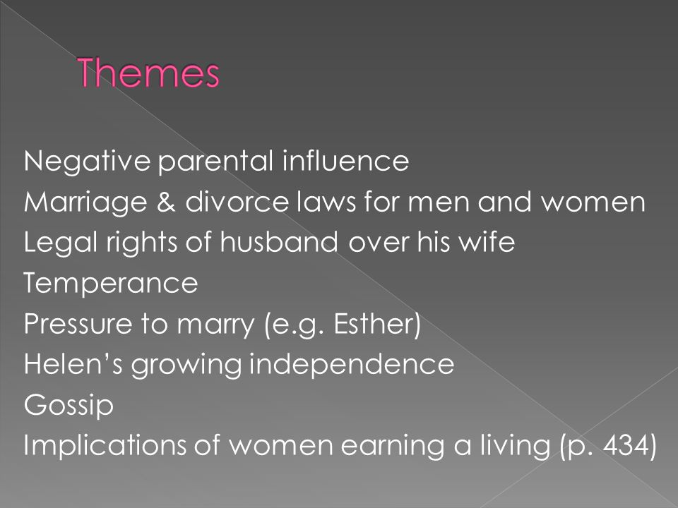 Negative parental influence Marriage & divorce laws for men and women Legal rights of husband over his wife Temperance Pressure to marry (e.g.