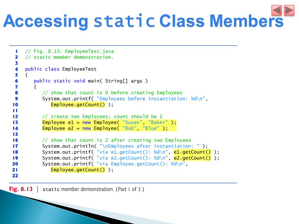 Accessing static Class Members