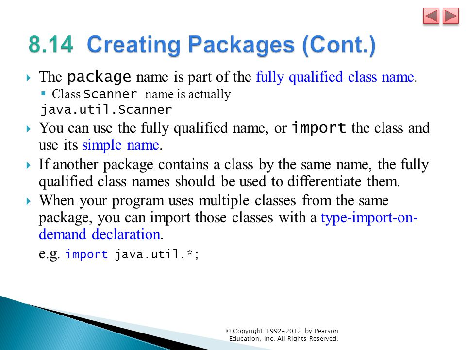  The package name is part of the fully qualified class name.