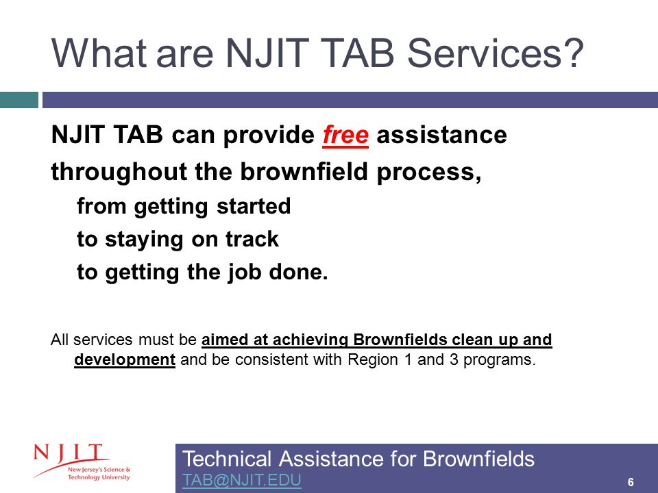 What are NJIT TAB Services.