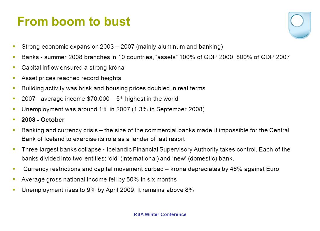 From boom to bust  Strong economic expansion 2003 – 2007 (mainly aluminum and banking)  Banks - summer 2008 branches in 10 countries, assets 100% of GDP 2000, 800% of GDP 2007  Capital inflow ensured a strong króna  Asset prices reached record heights  Building activity was brisk and housing prices doubled in real terms  2007 - average income $70,000 – 5 th highest in the world  Unemployment was around 1% in 2007 (1.3% in September 2008)  2008 - October  Banking and currency crisis – the size of the commercial banks made it impossible for the Central Bank of Iceland to exercise its role as a lender of last resort  Three largest banks collapse - Icelandic Financial Supervisory Authority takes control.