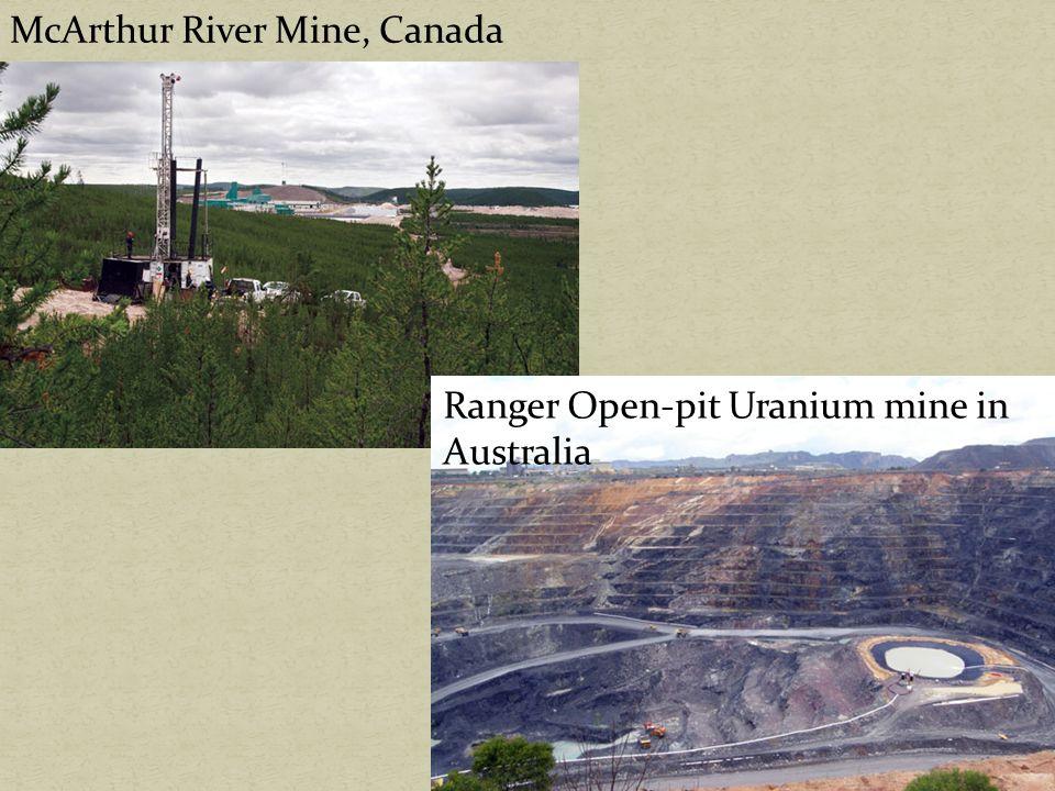 McArthur River Mine, Canada Ranger Open-pit Uranium mine in Australia