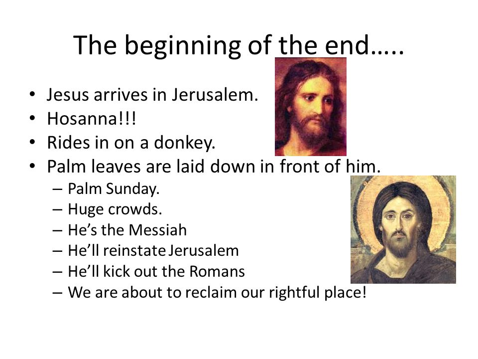 The beginning of the end….. Jesus arrives in Jerusalem.