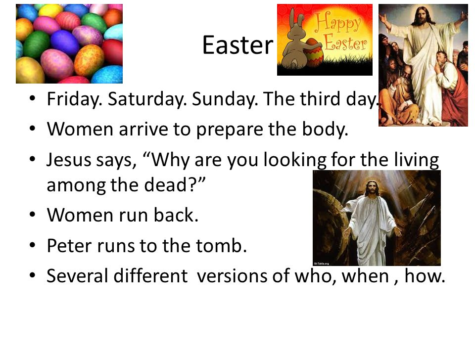 Easter Friday. Saturday. Sunday. The third day.