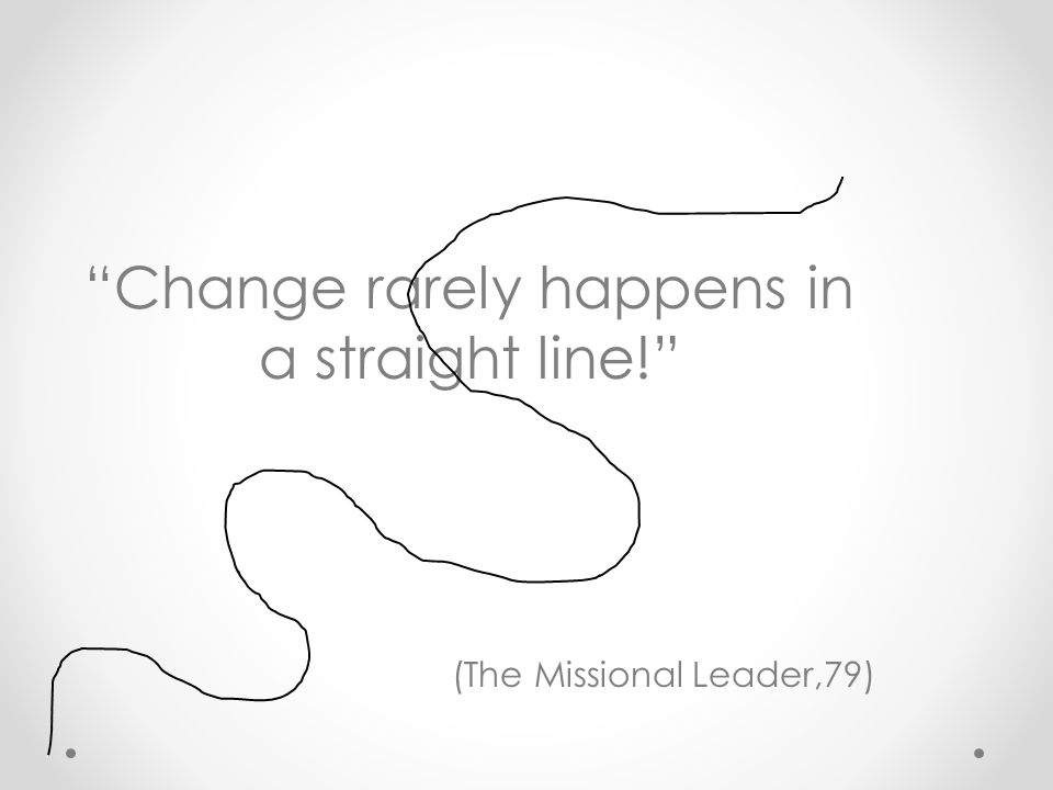 """""""Change rarely happens in a straight line!"""" (The Missional Leader,79)"""