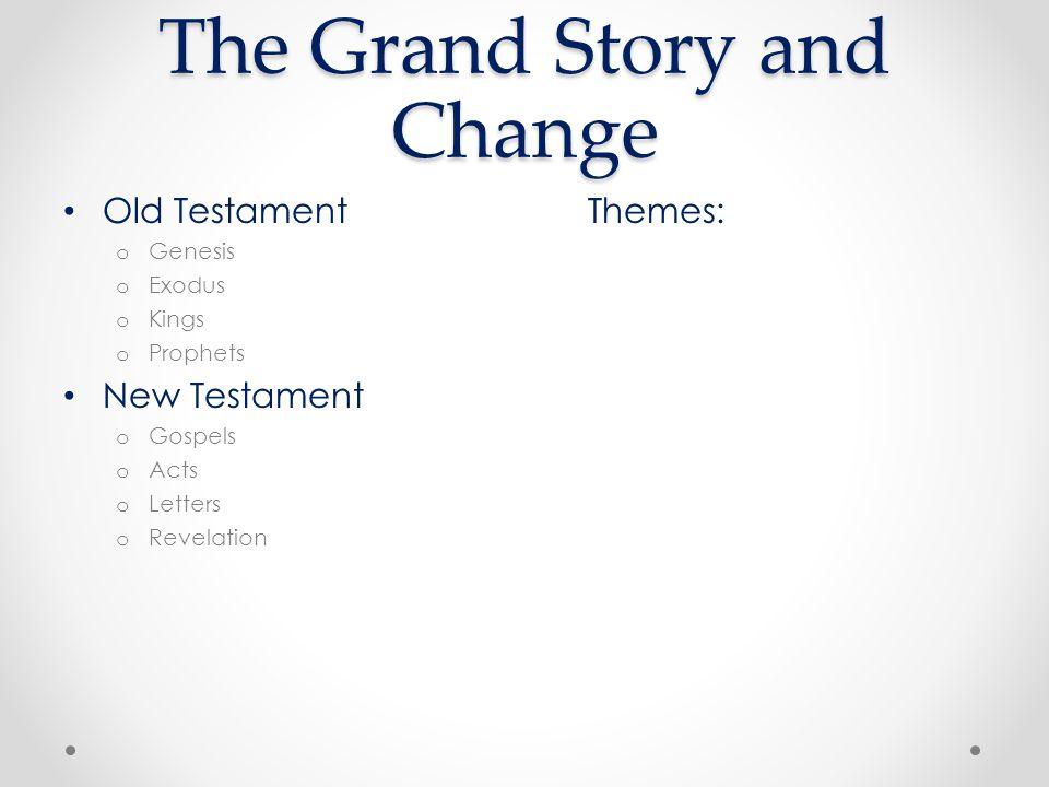 Old TestamentThemes: o Genesis o Exodus o Kings o Prophets New Testament o Gospels o Acts o Letters o Revelation The Grand Story and Change