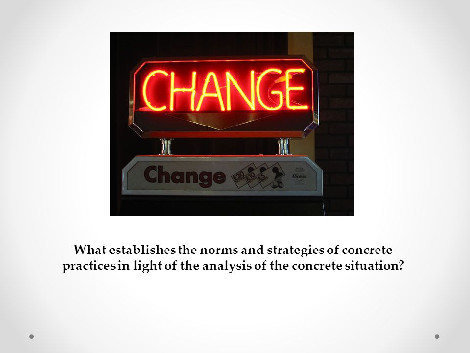 What establishes the norms and strategies of concrete practices in light of the analysis of the concrete situation