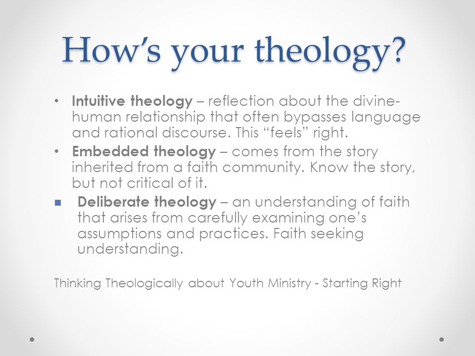 How's your theology.