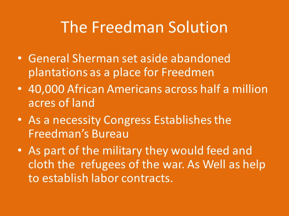 The Freedman Solution General Sherman set aside abandoned plantations as a place for Freedmen 40,000 African Americans across half a million acres of