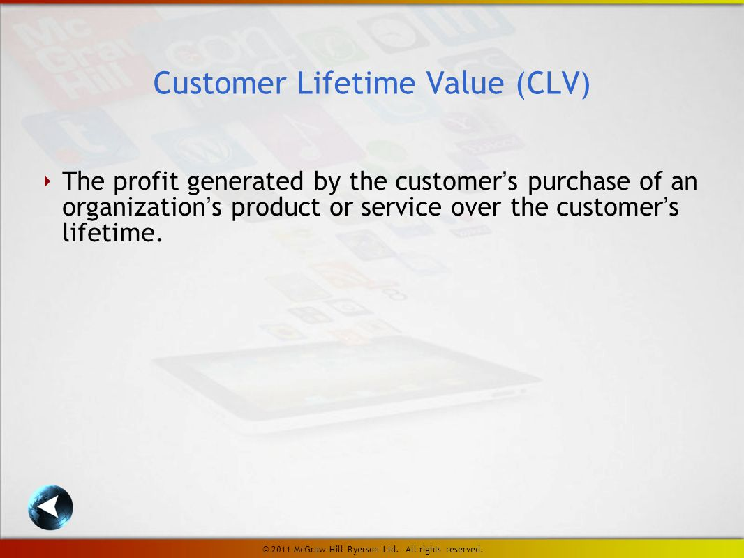 ‣ The profit generated by the customer's purchase of an organization's product or service over the customer's lifetime.