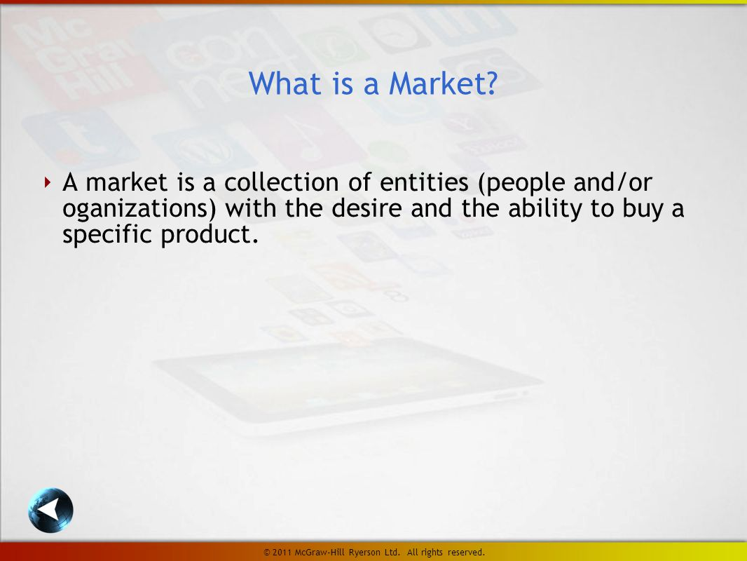 FIGURE 1-3 Marketing's second task: satisfying consumer needs LO 4 © 2011 McGraw-Hill Ryerson Ltd.