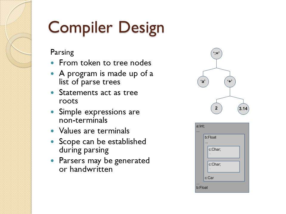 Compiler Design Parsing From token to tree nodes A program is made up of a list of parse trees Statements act as tree roots Simple expressions are non-terminals Values are terminals Scope can be established during parsing Parsers may be generated or handwritten