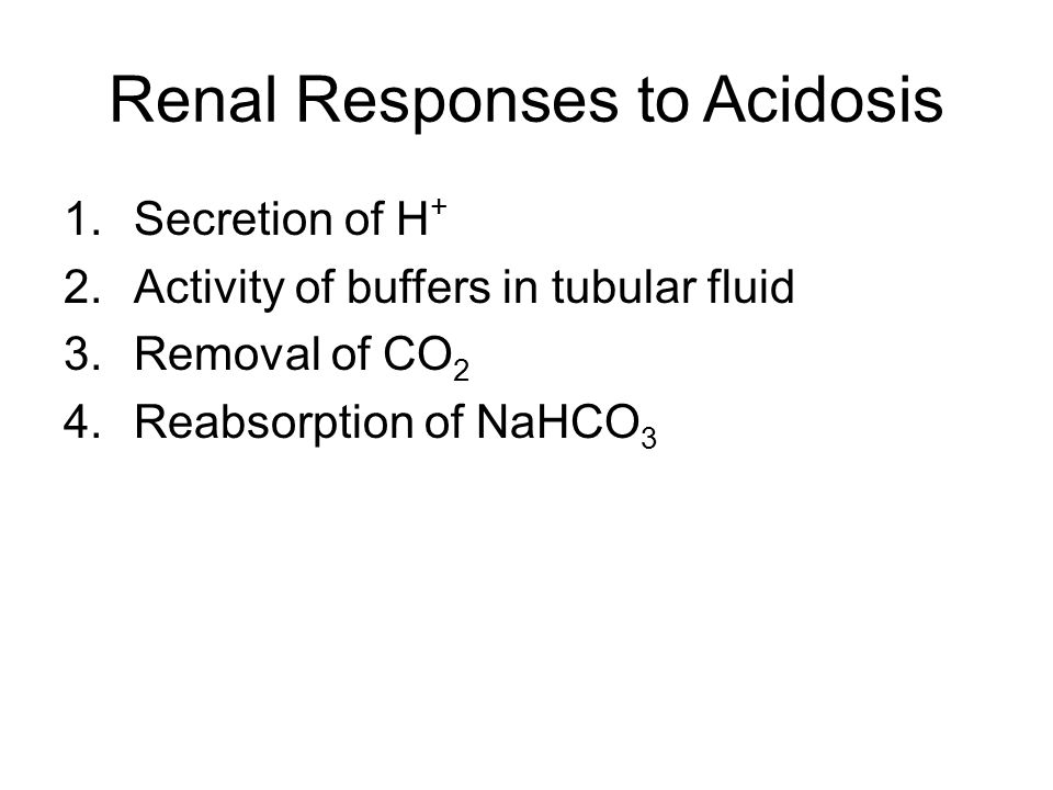 Renal Responses to Acidosis 1.Secretion of H + 2.Activity of buffers in tubular fluid 3.Removal of CO 2 4.Reabsorption of NaHCO 3