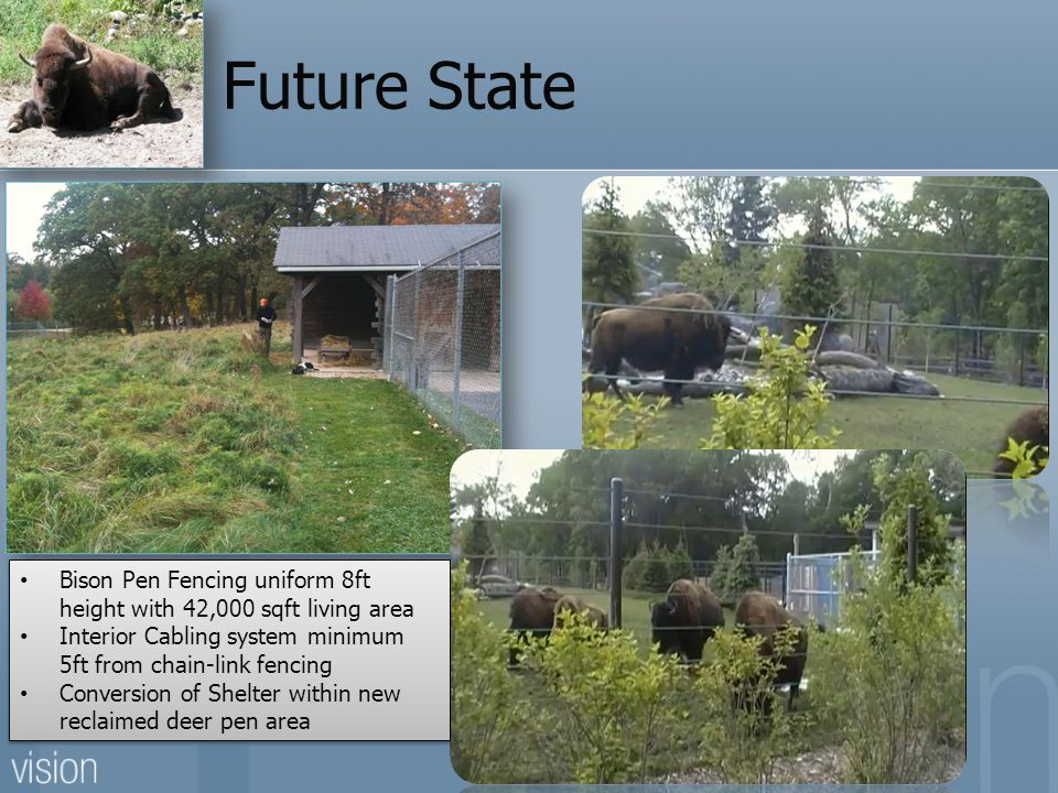 Future State Bison Pen Fencing uniform 8ft height with 42,000 sqft living area Interior Cabling system minimum 5ft from chain-link fencing Conversion