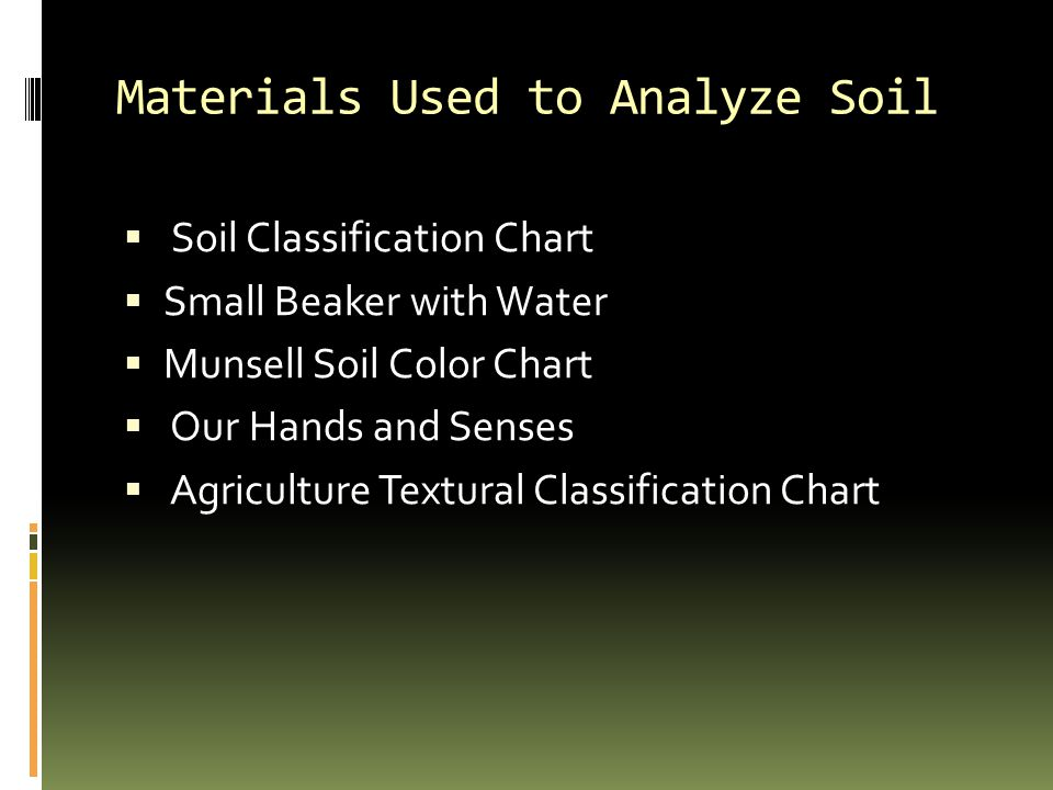 Materials Used to Analyze Soil  Soil Classification Chart  Small Beaker with Water  Munsell Soil Color Chart  Our Hands and Senses  Agriculture Textural Classification Chart