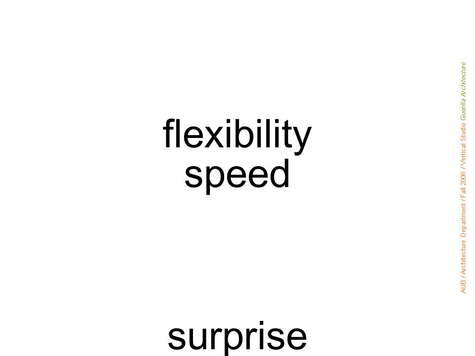 flexibility speed surprise geographic spread accumulation