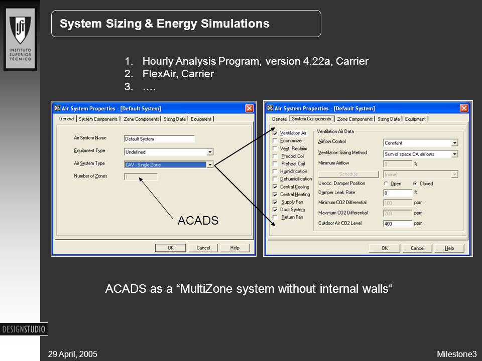 Milestone329 April, 2005 System Sizing & Energy Simulations 1.Hourly Analysis Program, version 4.22a, Carrier 2.FlexAir, Carrier 3.….