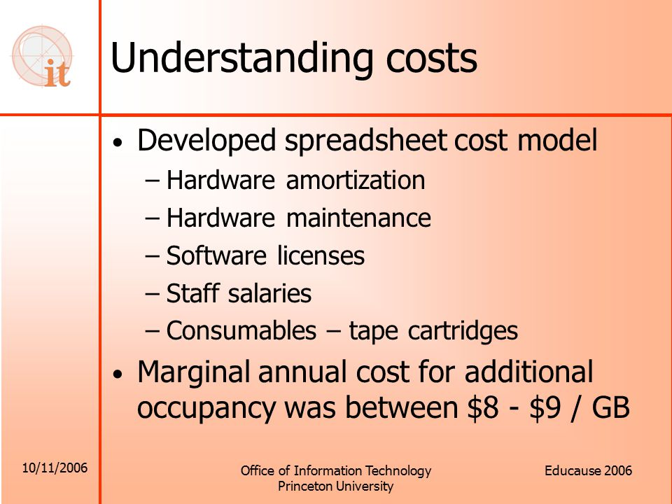 10/11/2006 Office of Information Technology Princeton University Educause 2006 Understanding costs Developed spreadsheet cost model –Hardware amortization –Hardware maintenance –Software licenses –Staff salaries –Consumables – tape cartridges Marginal annual cost for additional occupancy was between $8 - $9 / GB