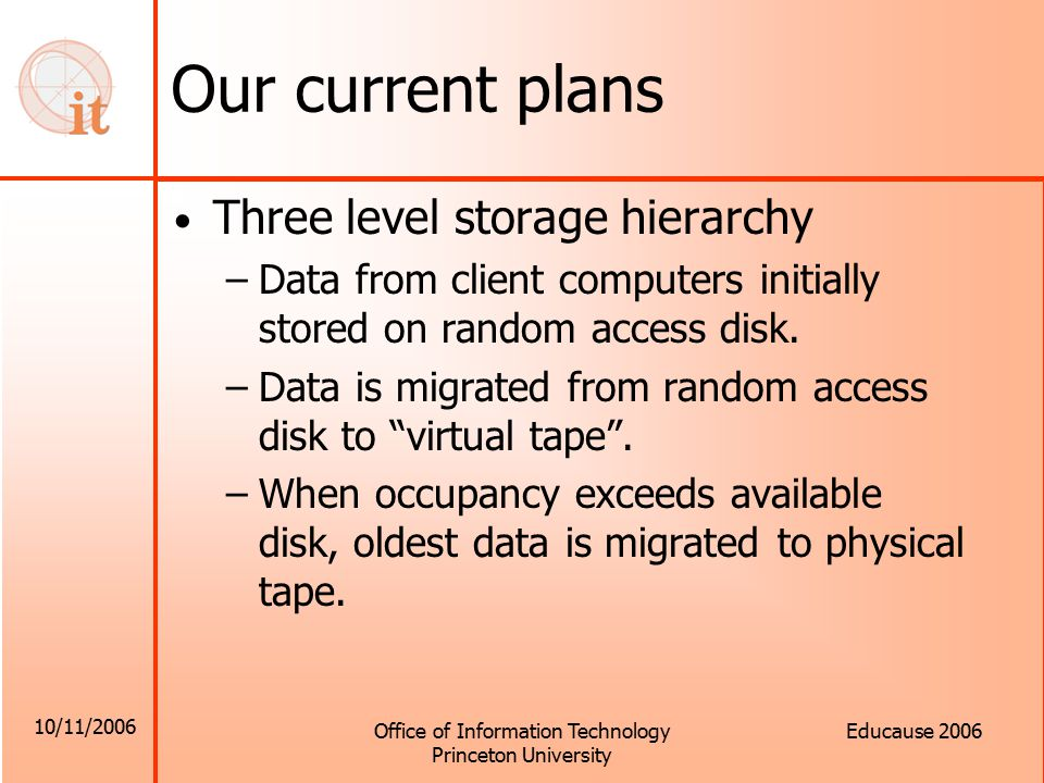 10/11/2006 Office of Information Technology Princeton University Educause 2006 Our current plans Three level storage hierarchy –Data from client computers initially stored on random access disk.
