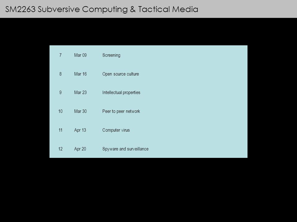 SM2263 Subversive Computing & Tactical Media 7Mar 09Screening 8Mar 16Open source culture 9Mar 23Intellectual properties 10Mar 30Peer to peer network 11Apr 13Computer virus 12Apr 20Spyware and surveillance