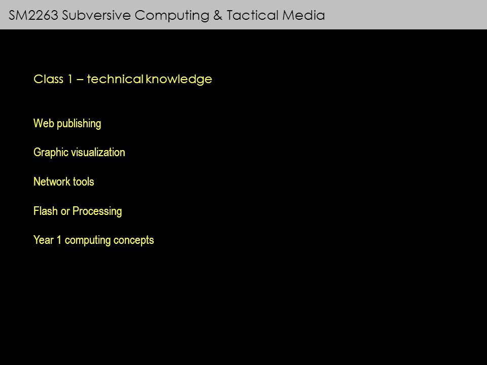 SM2263 Subversive Computing & Tactical Media Class 1 – technical knowledge Web publishing Graphic visualization Network tools Flash or Processing Year 1 computing concepts