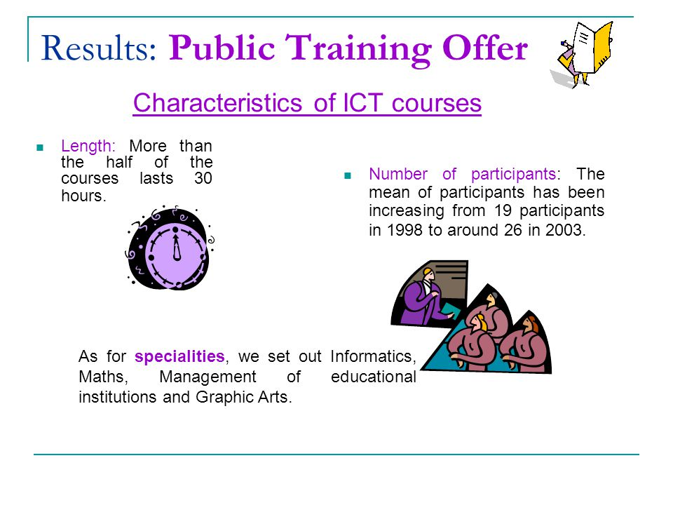 Results: Public Training Offer Characteristics of ICT courses Length: More than the half of the courses lasts 30 hours.