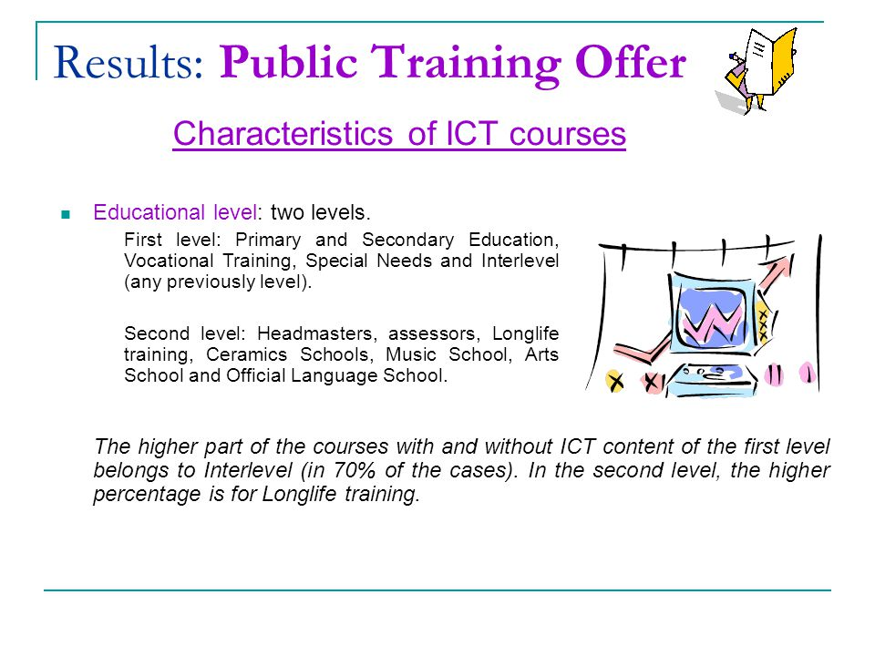 Results: Public Training Offer Characteristics of ICT courses Educational level: two levels.