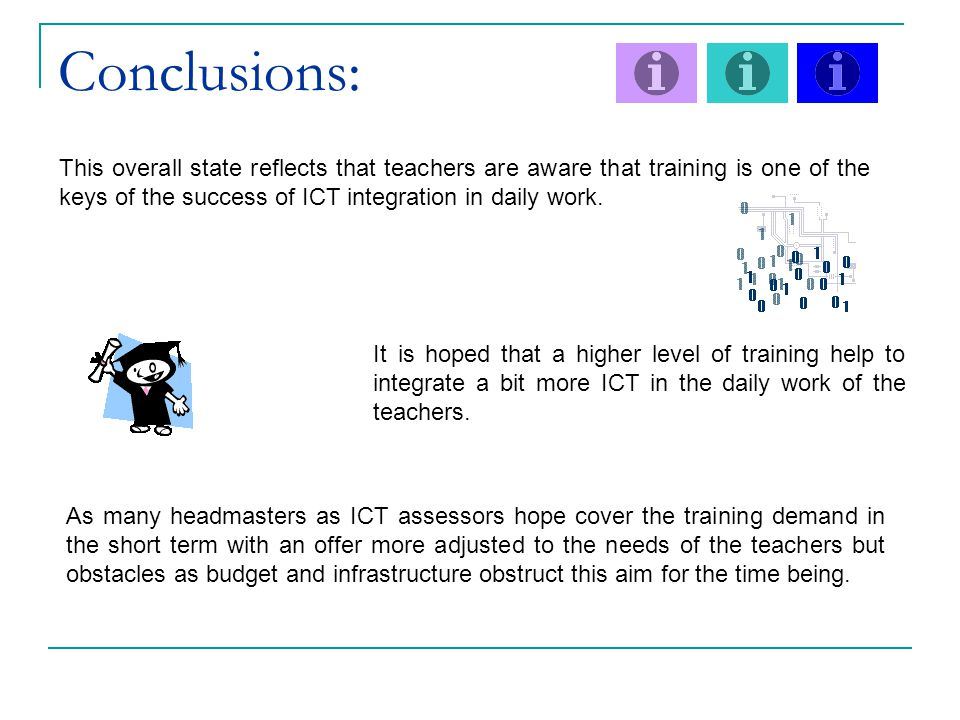 Conclusions: This overall state reflects that teachers are aware that training is one of the keys of the success of ICT integration in daily work.
