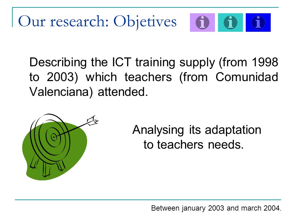 Our research: Objetives Describing the ICT training supply (from 1998 to 2003) which teachers (from Comunidad Valenciana) attended.