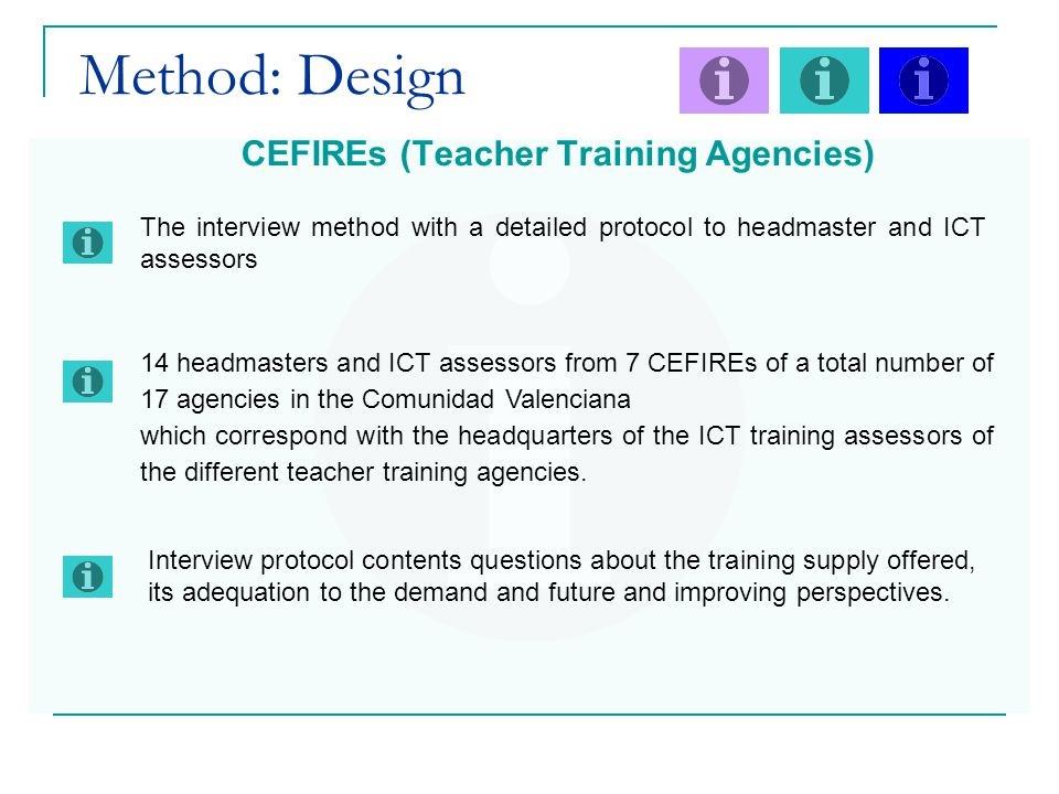 Method: Design CEFIREs (Teacher Training Agencies) 14 headmasters and ICT assessors from 7 CEFIREs of a total number of 17 agencies in the Comunidad Valenciana which correspond with the headquarters of the ICT training assessors of the different teacher training agencies.