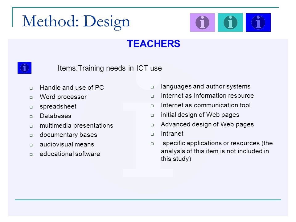 Method: Design TEACHERS Items:Training needs in ICT use  Handle and use of PC  Word processor  spreadsheet  Databases  multimedia presentations  documentary bases  audiovisual means  educational software  languages and author systems  Internet as information resource  Internet as communication tool  initial design of Web pages  Advanced design of Web pages  Intranet  specific applications or resources (the analysis of this item is not included in this study)